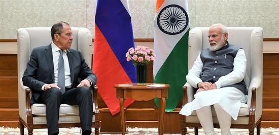 रूसी विदेश मंत्री श्री सर्जेई लेवरोव ने प्रधानमंत्री- नरेन्द्र मोदी से मुलाकात की