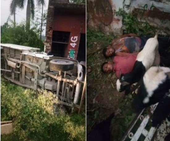 लखनऊ-सीतापुर हाइवे पर खंडहर में घुसा पिक-अप वाहन, दो की मौत -तीन जख्मी
