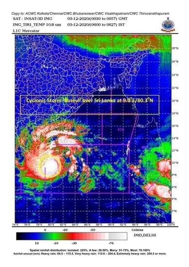 BREAKING NEWS - श्रीलंका के ऊपर चक्रवाती तूफान 'बुरेवी' (दक्षिणी तमिलनाडु और दक्षिण केरल तटों के लिए चक्रवाती चेतावनी : यलो अलर्ट)